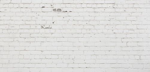 Wide Angle White Brick Wall. Background Texture Wall mural