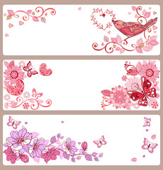 Set of banners with hearts and butterflies for Valentine's Day, Easter greetings.
