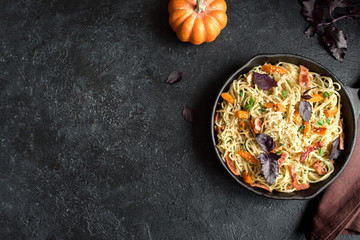 Autumn pasta with pumpkin and bacon
