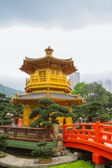 A golden pagoda in Nan Lian garden at Hong Kong