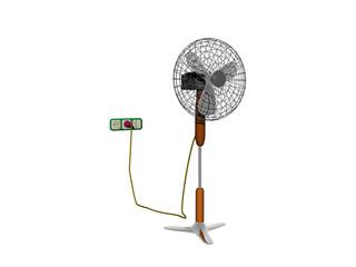 Ventilator mit Standfuß und Kabel