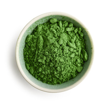 Bowl of spirulina powder