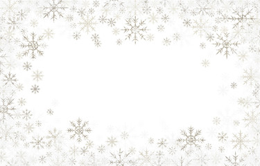 Christmas frame with silver and white snowflakes