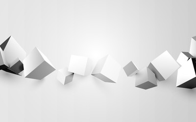 Abstract white 3d boxes background. Vector illustration