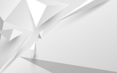 Wall Mural - Abstract white 3d polygonal background. Vector illustration