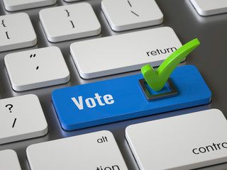 Vote key on the keyboard, 3d rendering,conceptual image.
