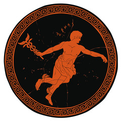 Ancient Greek god Hermes with a wand in his hand and wings on his feet. Figure on the bottom of the vase.