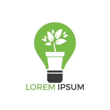 Light bulb and plant in a pot concept logo design. concept icon of education, light bulb, science.