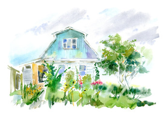 Country house, apple tree and garden. Flower garden sketch.Watercolor hand drawn illustration.White background.