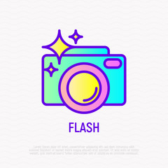 Camera with flash thin line icon. Modern vector illustration for photographer's logo.