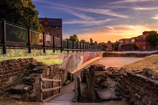 Sunset view of the Roman Amphitheatre in Chester, England, the largest so far uncovered in Britain.