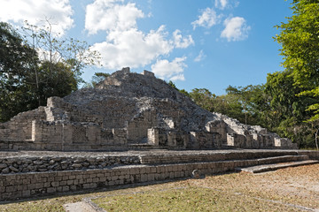 The ruins of the ancient Mayan city of Becan, Campeche, Mexico