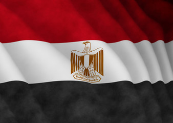Illustration of a flying Egyptian flag