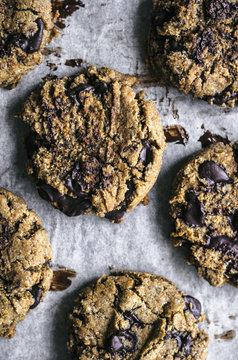 Almond rye chocolate chip cookies