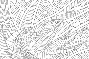 Beautiful coloring book page with black and white abstract pattern