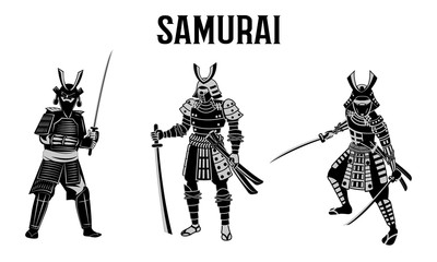 Tuinposter Art Studio Samurai hold sword in front of red circle,warrior of japan,monochrome realistic design,vector illustration