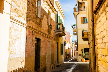 Empty street in the city of Olbia, Italy. Italian architecture.