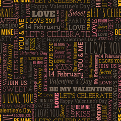 Wall Murals Newspapers Valentine's Day word seamless pattern