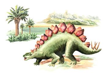 Stegosaurus dinosaur in prehistorical landscape. Watercolor hand drawn illustration, isolated on white background