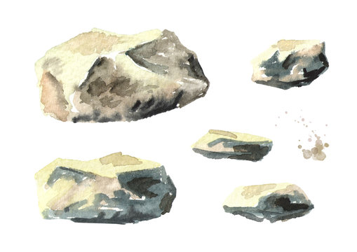 Stone set. Watercolor hand drawn illustration, isolated on white background