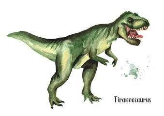 Tyrannosaurus dinosaur. Watercolor hand drawn illustration, isolated on white background