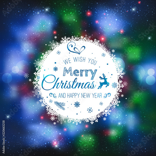 christmas and new year cards with typographical on shiny xmas background merry christmas card