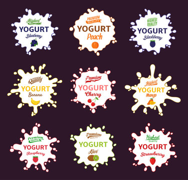 Vector yogurt splashes