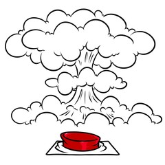 Red button nuclear mushroom explosion cartoon illustration isolated image
