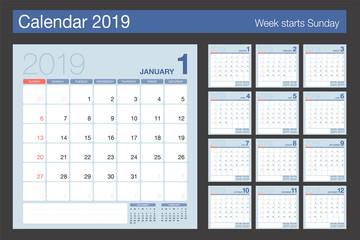 2019 Calendar. Desk Calendar modern design template. Week starts Sunday.