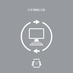 Computer synchronization flat icon