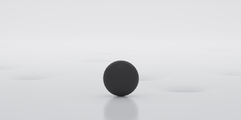 Abstract of white surface with random position of hole and black sphere ball,minimal concept,Futuristic space. 3D rendering
