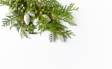 Natural Christmas decoration made from evergreen twigs and silver cones. Flatlay. Copy space