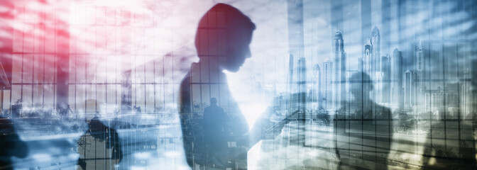 Abstract Double Exposure Business Backgrounds Silhouettes of people.