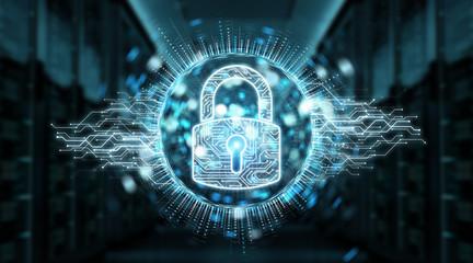 Digital security hologram with padlock 3D rendering
