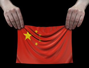 Chinese flag in hands