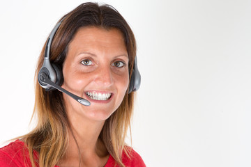 Smiling young support phone operator Call center in headset isolated on white background