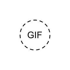 Gif line vector icon. Gif circle icon. Simple gif icon on white background.