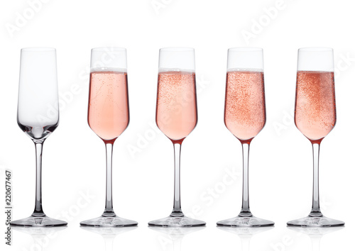 Elegant Rose Pink Champagne Gles With Bubbles