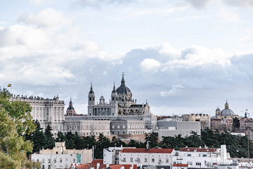 Church Almudena Cathedral in Madrid. View from afar