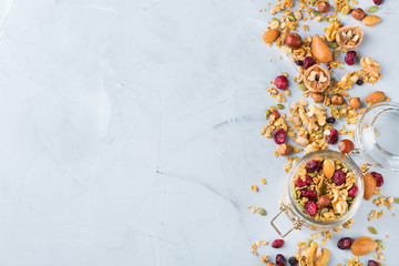 Healthy homemade cereal muesli granola for breakfast