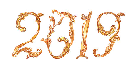 "Gold inscription ""2019"" from a baroque pattern, watercolor drawing on a white background, isolated."