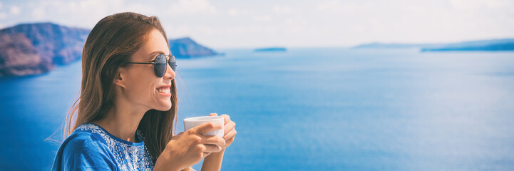 Wall Mural - Tranquil morning serene woman relaxing drinking breakfast coffee enjoying ocean sea view on luxury hotel balcony, summer travel holidays. Home living banner panoramic landscape header.