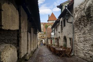 Beautiful view of the famous Passage of St. Catherine (Katariina käik) in the Old Town of Tallinn, Estonia
