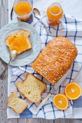 French Brioche - french sweet brioche bread with orange marmalade