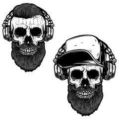 Set of bearded skull in headphones. Design element for poster, card, emblem, sign banner.