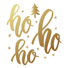 Ho ho ho. Lettering phrase in golden style on white background. Design element for poster, greeting card.