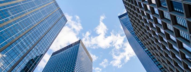 Bottom view of skyscrapers in Manhattan, New York, USA