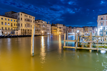 Scenic view at night over the Grand Canal, Venice, Italy