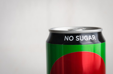 No sugar text on can of soda