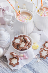 Marshmallow, cookies, meringues and different Christmas decorations